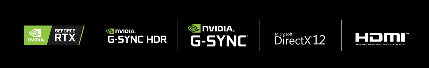 Badges for NVIDIA GeForce RTX, NVIDIA G-SYNC HDR, NVIDIA G-SYNC, Microsoft Direct X 12 and HDMI
