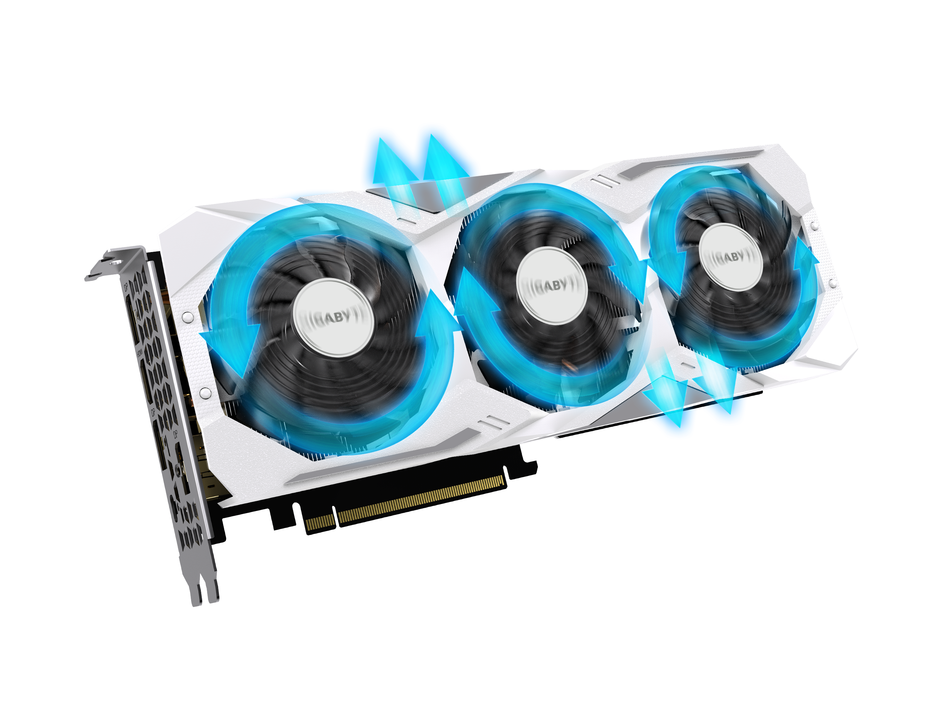 GIGABYTE GeForce RTX 2070 Graphics Card Angled Up to the Right with Blue Arrow Graphics showing fan spinning and the resulting airflow directions