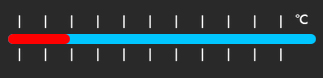 Graphic of a marked temp slider with more blue than red