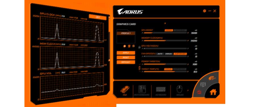 AORUS Software windows