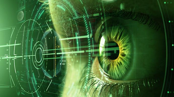 An eye looking through AR tech