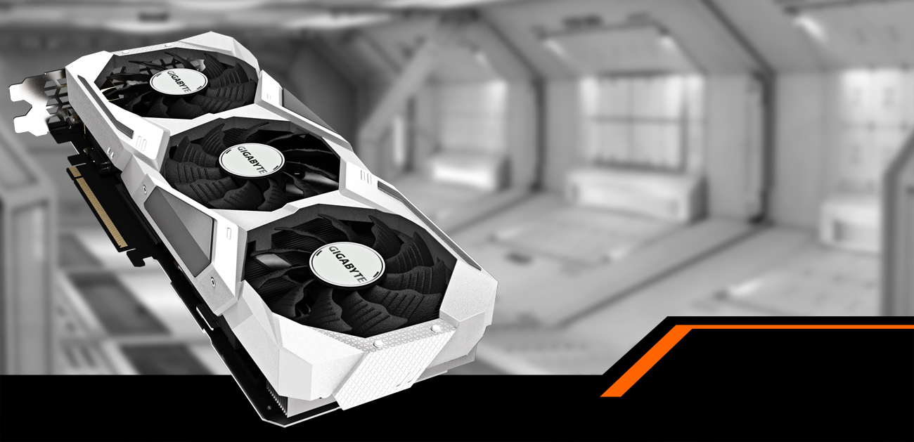 GIGABYTE GeForce RTX 2070 Graphics Card Facing Up, Angled Down to the Right