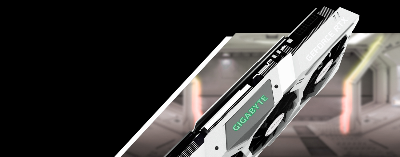 Side Profile Shot of the GIGABYTE GeForce RTX 2070 Graphics Card Facing Down to the Right in Front of a Spaceship Hangar