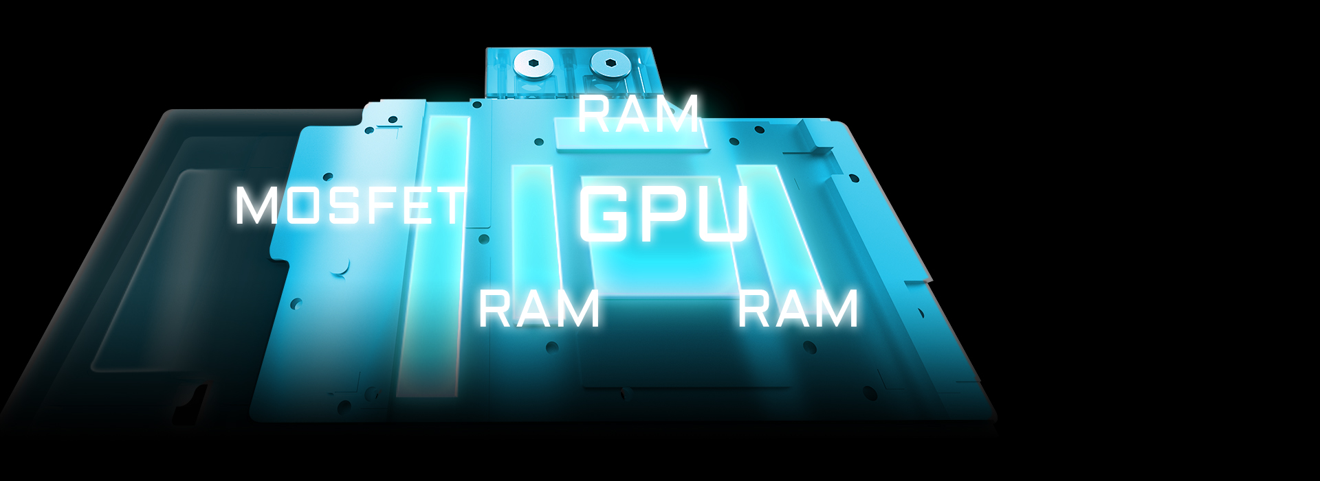 An image of large copper base plate with direct contact to the GPU, VRAM and all critical components