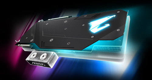 The back of GIGABYTE AORUS GeForce® RTX 2080 SUPER™ WATERFORCE WB 8G Graphics Card