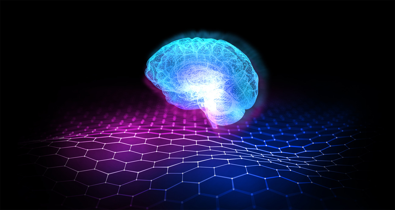 An image shows a glowing brain, which on behalf of AI technology