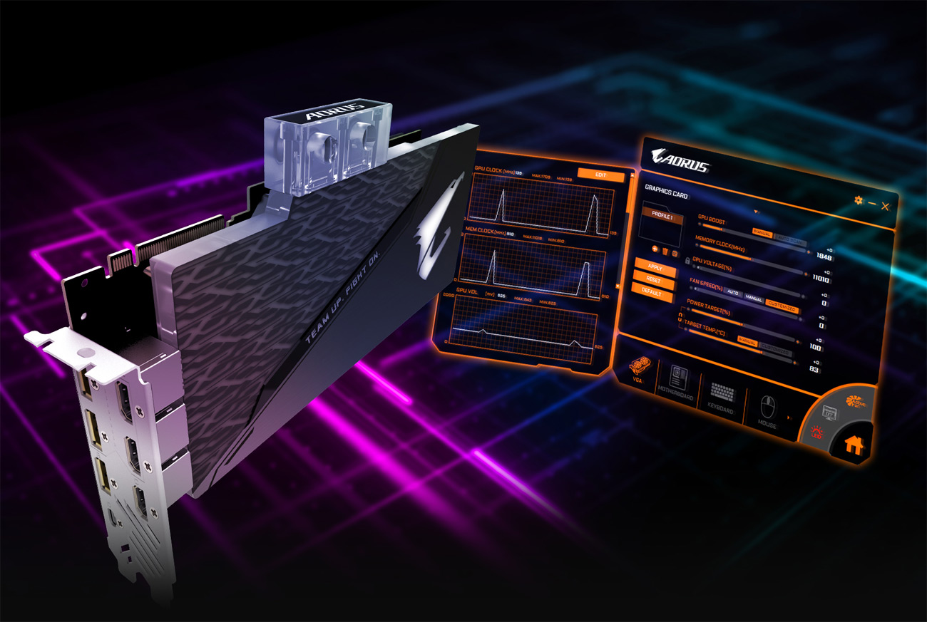GIGABYTE AORUS GeForce® RTX 2080 SUPER™ WATERFORCE WB 8G Graphics Card and AORUS's software interface