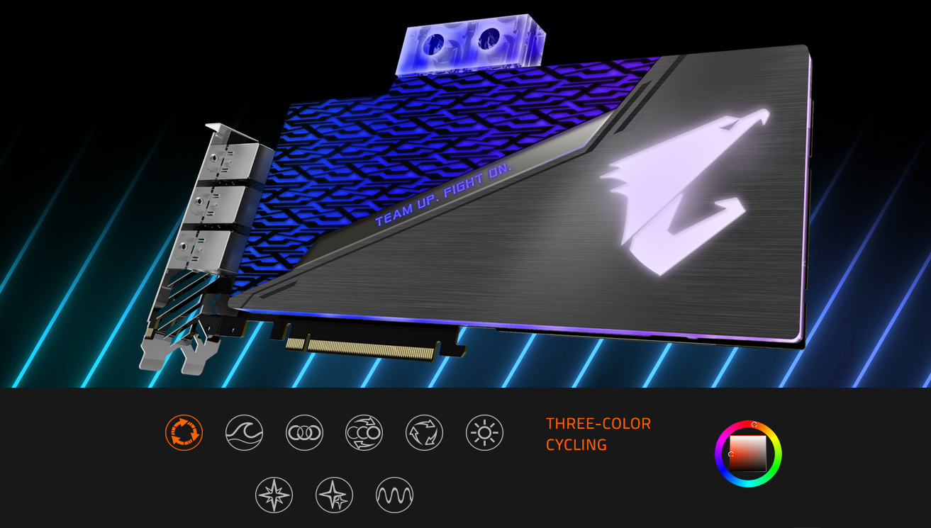 GIGABYTE AORUS GeForce® RTX 2080 SUPER™ WATERFORCE WB 8G Graphics Card's color options