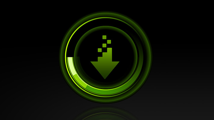 A green download icon of drivers