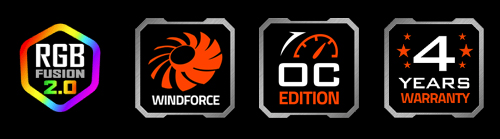 features icon for RGB Fusion 2.0, Windforce, 4 Years Warranty, NVIDIA Geforce RTX