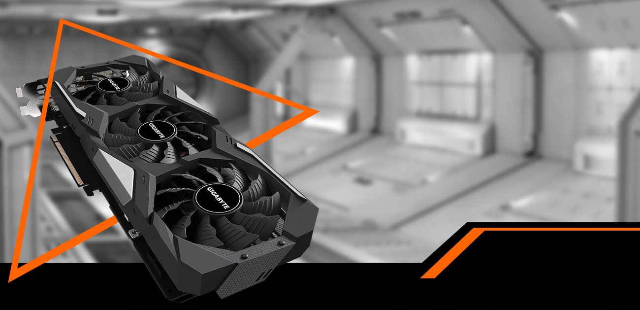GeForce® RTX 2070 SUPER™ WINDFORCE OC 3X 8G Graphics Card with background