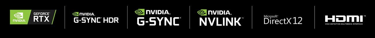 NV Geforce RTX logo, NV G-SYNC HDR logo, NV G-SYNC logo, NV NVLINK logo, Microsoft DirectX12 logo, HDMI logo