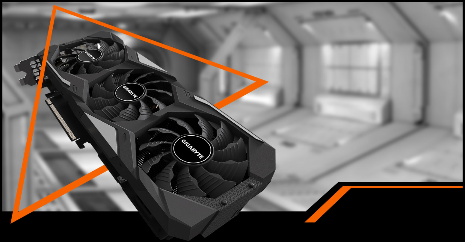 GeForce® RTX 2080 SUPER™ WINDFORCE OC 8G Graphics Card with background