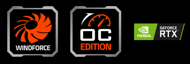 features icon for Windforce, OC EDITION, NVIDIA Geforce RTX