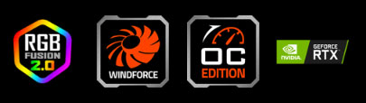 features icon for Windforce, OC EDITION, NVIDIA Geforce RTX, RGB FUSION 2.0