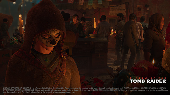a screenshot of Tomb Raider showing Laura wearing a mask