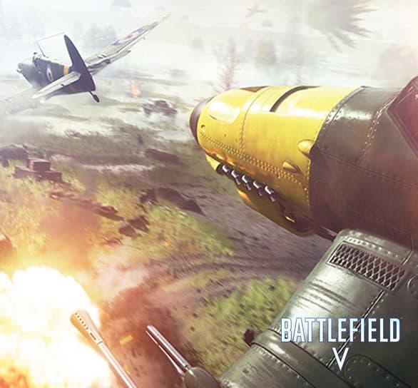 a fighter plane combat scene in Battlefield 5