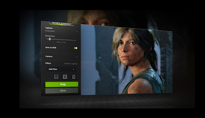 the interface of NVIDIA Ansel software showing the picture of Laura in Tomb Raider