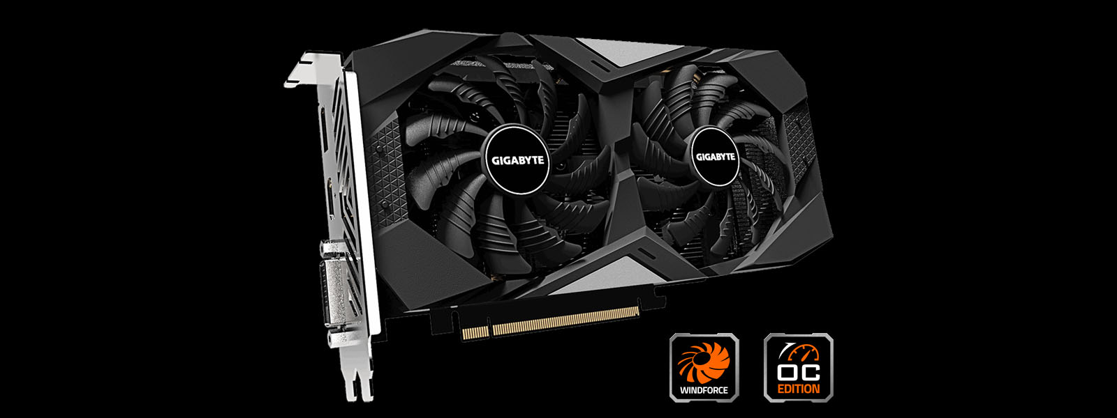 GIGABYTE GeForce GTX 1650 SUPER WINDFORCE OC 4G front look with OC Edition and WINDFORCE logos