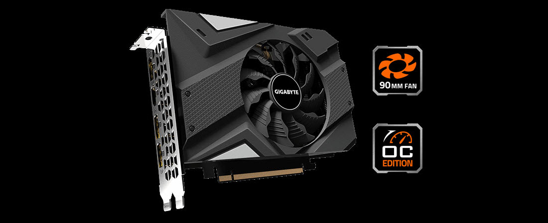 GIGABYTE GeForce GTX 1660 SUPER MINI ITX OC 6G front look with OC Edition and WINDFORCE logos