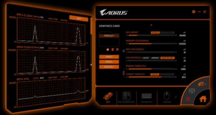 two screenshots of AORUS ENGINE