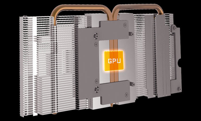 heatsink and heatpipes directly touching the GPU