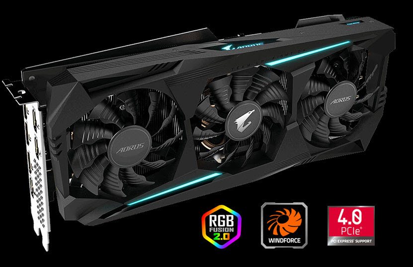 AORUS Radeon RX 5700 XT 8G graphics card with three feature logos