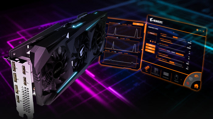 AORUS Radeon RX 5700 XT 8G beside two screenshots of AORUS Engine