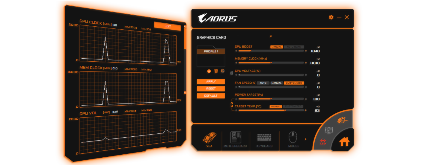 two interfaces of AORUS Engine