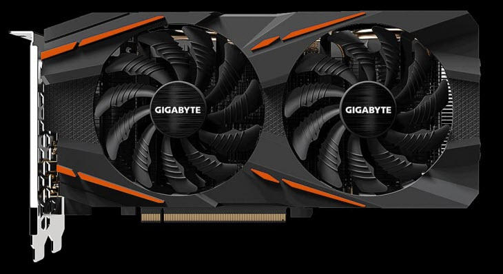 GIGABYTE Radeon RX 570 GAMING 4G graphics card front view