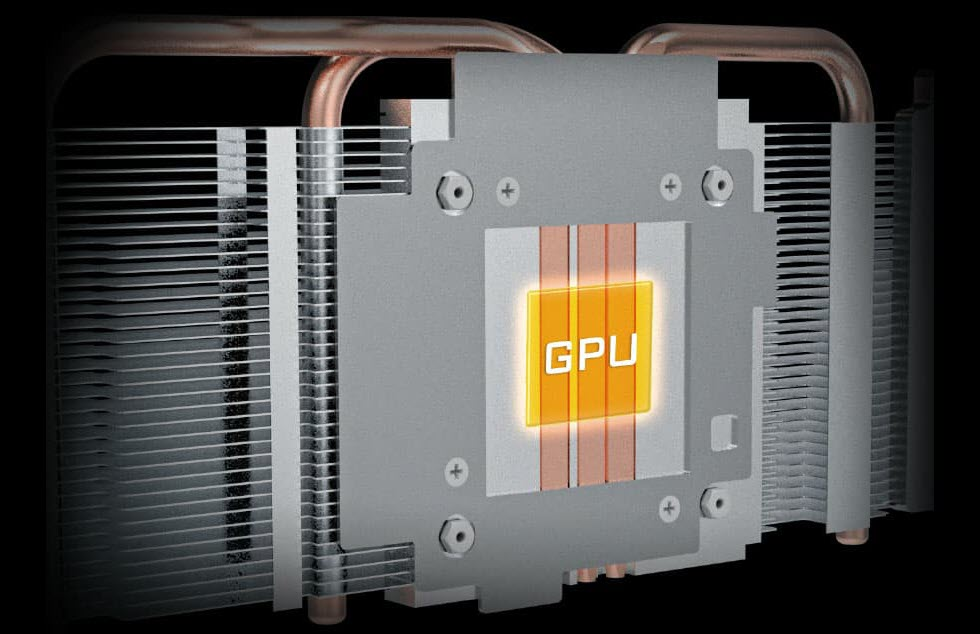 diagram of the GPU contacted directly with heat pipes