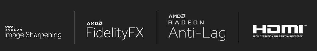 image sharpening icon, fidelityFX icon, anti-lag icon, HDMI icon.