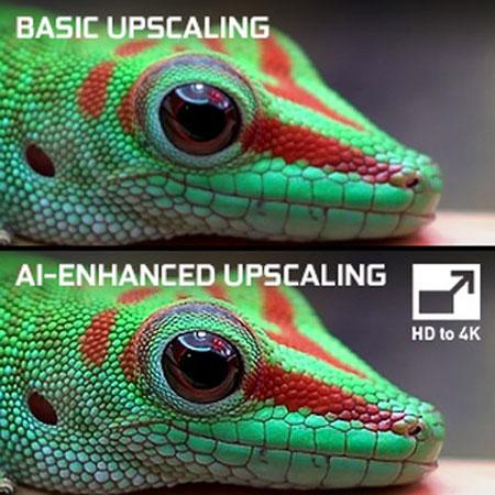 comparison of basic upscaling and AI-enhanced upscaling