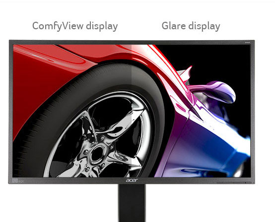 one image splited into two, showing different effect between comfyview display and glare display