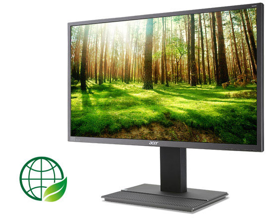the monitor with a forest view image as screen facing left