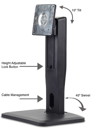 Nixeus VESA Height Adjustable LCD Monitor Stand With Tilt, Swivel, And  Portrait Mode With