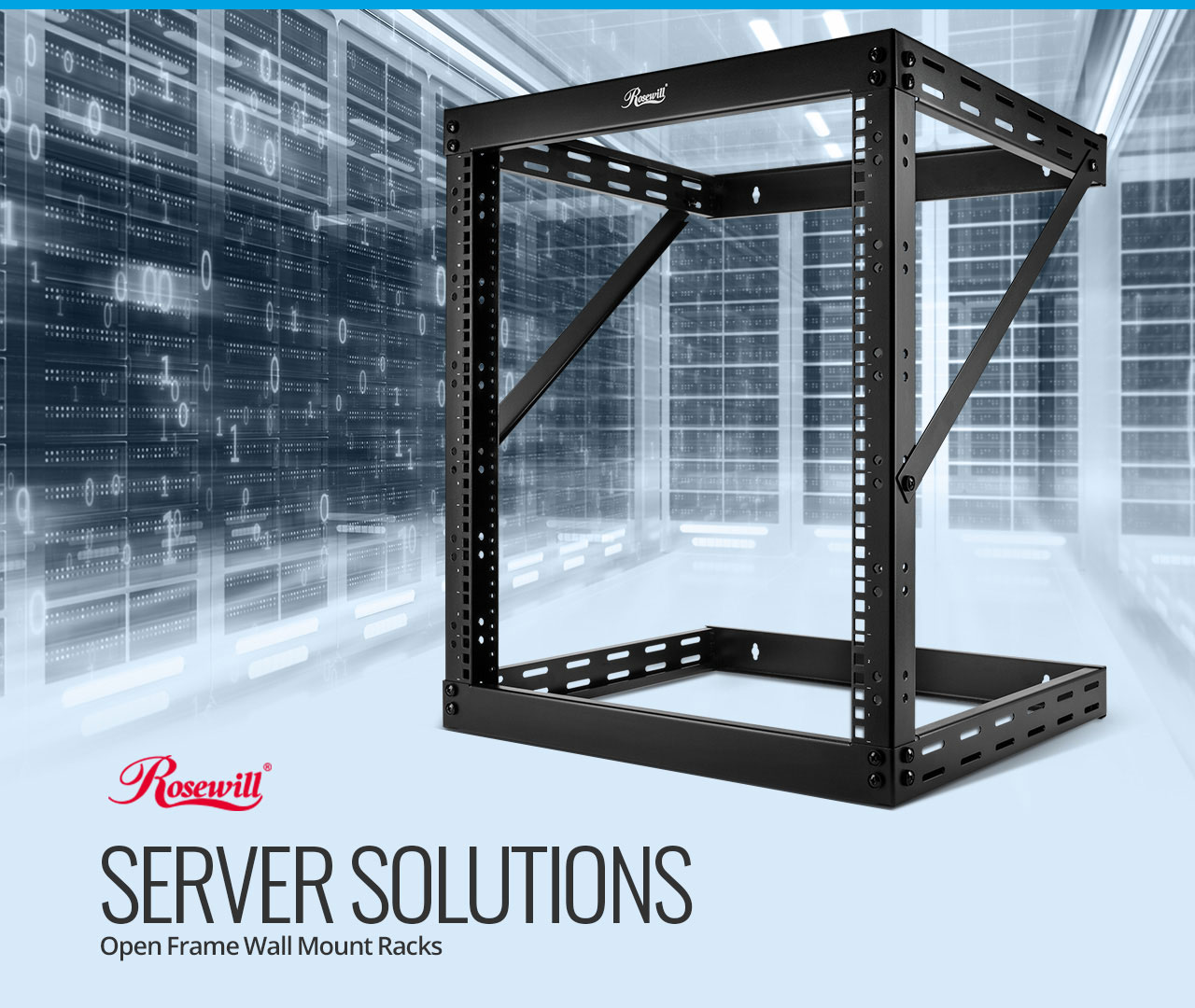 Rosewill RSR-2P12U002 server wall mount angled to the left with graphics of an information infrastructure and text that reads: SERVER SOLUTIONS - Open-Frame Wall-Mount Racks