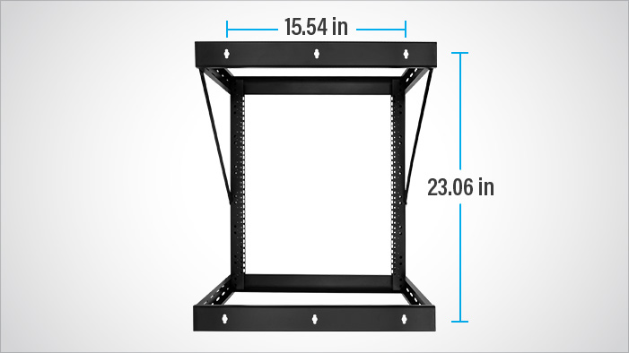 Rosewill RSR-2P12U002 server wall mount rack facing forward with dimensions showing: 15.54 inches width and 12.59 inches height