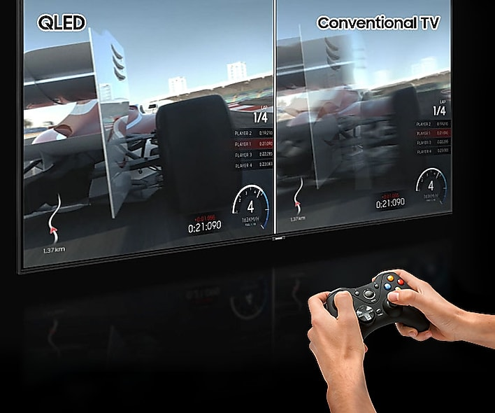 Hands holding a game controller in front of the SAMSUNG Q80R angled to the right with a racing game on screen and a split difference in quality between QLED and conventional TV tech