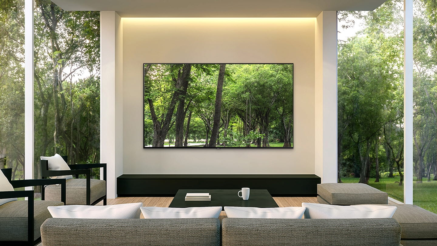 SAMSUNG Q80R display mounted in a living room with tall windows and many trees outdoors