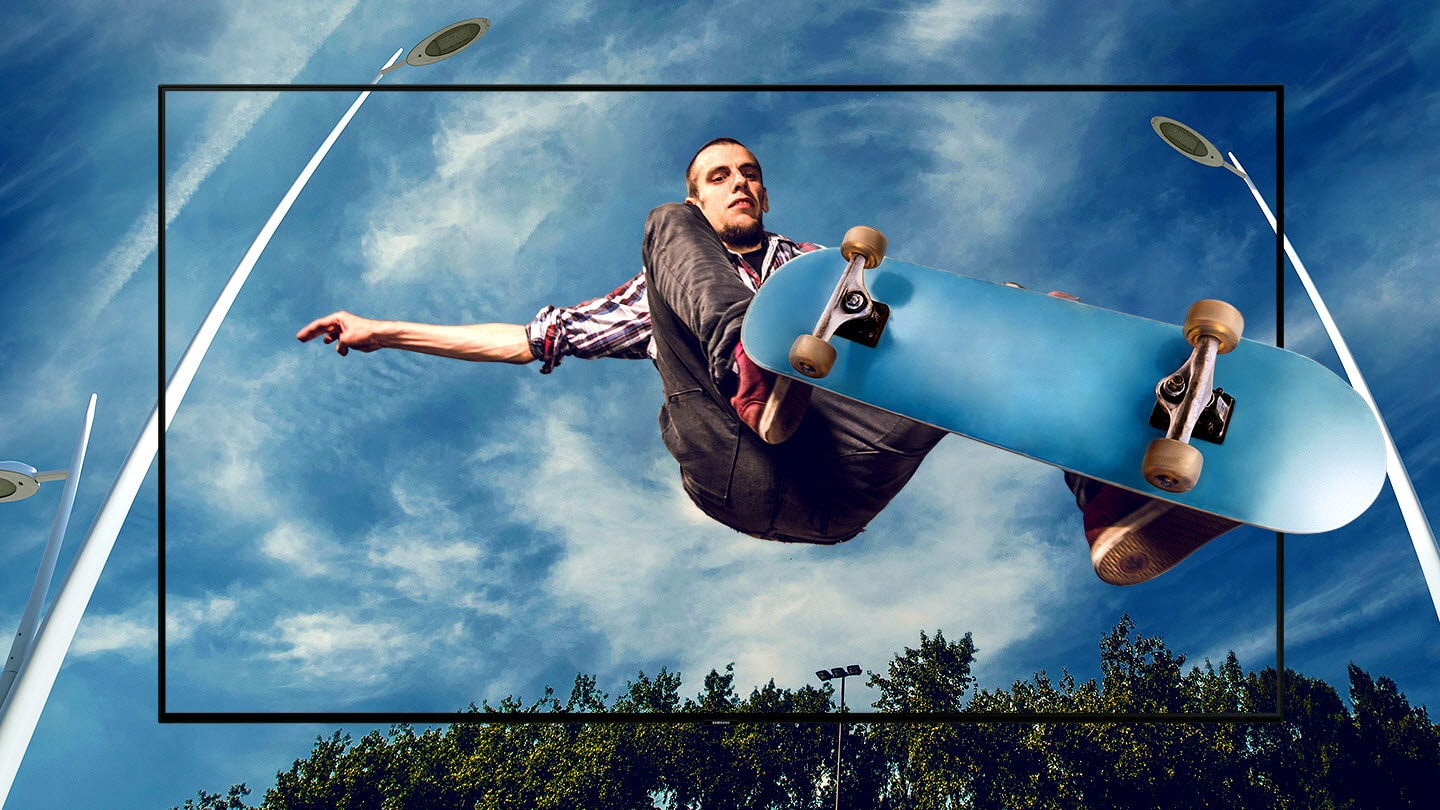SAMSUNG Q70R TV blending with an image of skater doing an ollie over the viewer