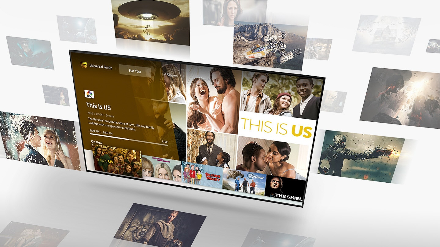 SAMSUNG Q80R angled down to the left with the This Is Us show title card, behind and around the TV are screenshots for different shows