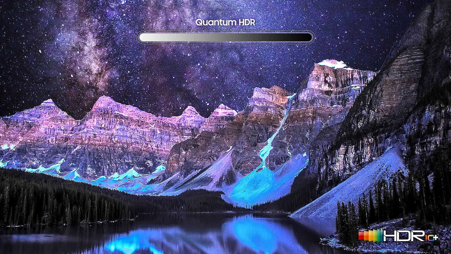 Quantum HDR Bar over a beautiful night time scene of snowy mountains over a forested lake with the galaxy and stars in the sky