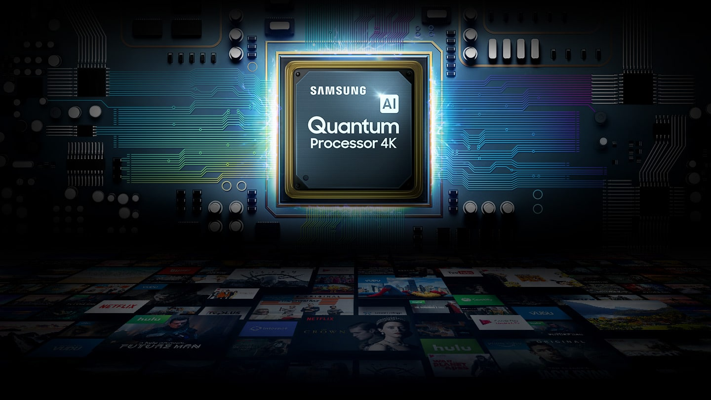 SAMSUNG Quantum Processor 4K in a Chipset Graphic with Title Cards and Streaming Service logos below it