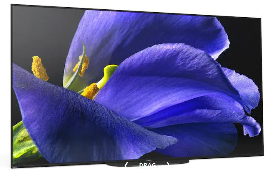 The sony TV is slightly tilted to the right and has a flower displayed in details.