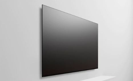 A sony TV sits almost flush against the wall