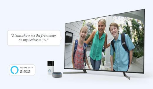 The TV shows what the front door camera is capturing via voice command.Beside the TV is Amazon Echo and a door camera