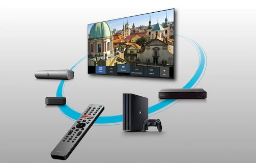 Settop, console, remote and the other devices are encircling a Sony TV.