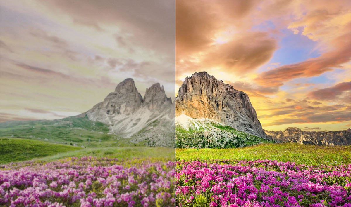 A comparison between a half of a scenery image with X1 Ultimate and the other half without.