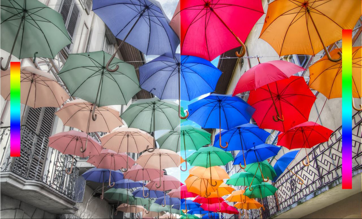 Umbrellas of various colors are hanging to block sunlight. Half of the picture shows effect on TRILUMINOS diplay and the other half picture shows effect on standard display.